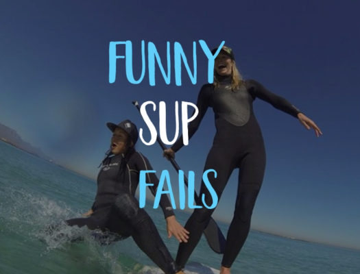 Funny Bluefin SUP fails 2 girls in wetsuits fall off paddleboard